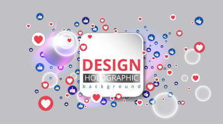 Abstraction with likes and hearts, Streaming preview template, 3d love, happy live, social media concept with media icons, chat box and, creative design, cute multimedia vector Vector Illustration