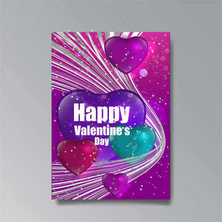 Abastract Valentine's Day page desing for web and print, with heart and stars, love concept, young colorful invitation design. Иллюстрация