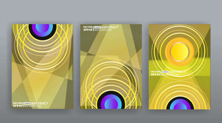 Yellow creative futuristic abstract vector background, dynamic modern yellow page temples set, summer vibes geometric lines and dots design, shiny elegant luxury invitation, flyer or cover