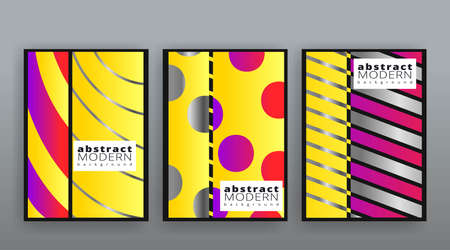Yellow and silver abstract futuristic templates set, modern creative vector pattern design for web and print decoration, summer vibes, luxury minimal pattern banner design dynamic geometric cover