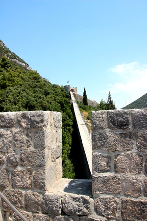 defensive: Defensive walls of Ston. Peljesac peninsula.Croatia Stock Photo