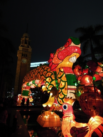 hong kong night: Dragon lantern lightsup for the 2012 Chinese New Year Carnival in Tsim Sha Tsui  Hong Kong, China Stock Photo