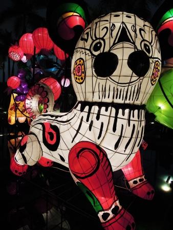 hong kong night: Panda lantern lightsup for the 2012 Chinese New Year Carnival in Tsim Sha Tsui  Hong Kong, China Stock Photo