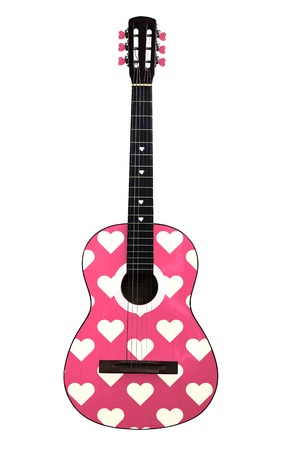 Acoustic guitar with heart pattern isolated on white