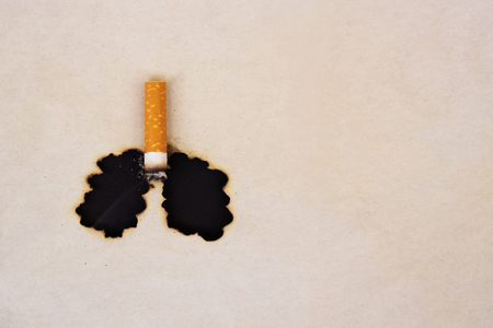The symbol of the smoked lungs. Burnt paper and cigarette butt. World No Tobacco Day concept. Stop smoking. 免版税图像