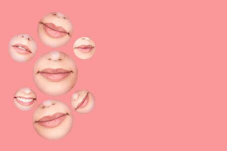 A set of mouths with pink lips on coral background. Lipstick swatches, demonstration, preview. Lips background. Beauty texture. Beauty store banner. Aesthetic medicine concept with copy space. 免版税图像
