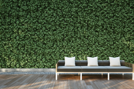 patio deck: Sofa on wood deck in the garden.