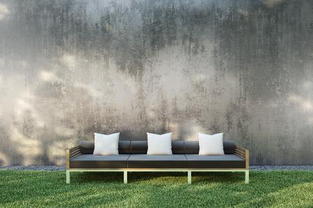Sofa in the garden.3D illustration.
