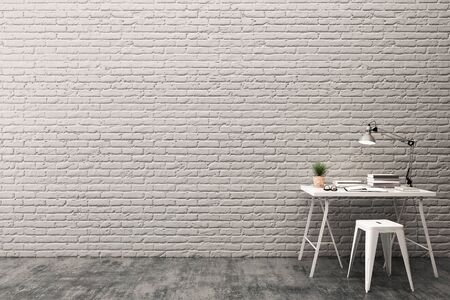Work space with brick wall and concrete floor.3D illustration Stock Photo