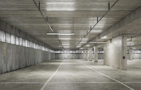 Parking area space with grunge texture style. 3D illustration