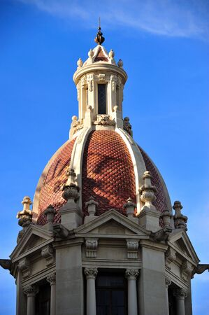 neoclassic: Neoclassic dome with blue vibrant intense sky in Valencia