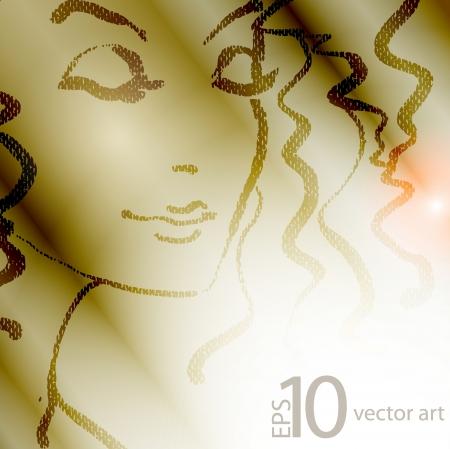 reflejo en espejo: de dibujo vectorial con un retrato de la hermosa chica