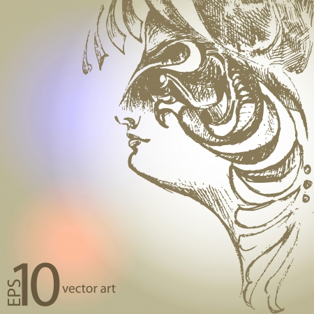 vector drawing with a portrait of the beautiful girl Vector
