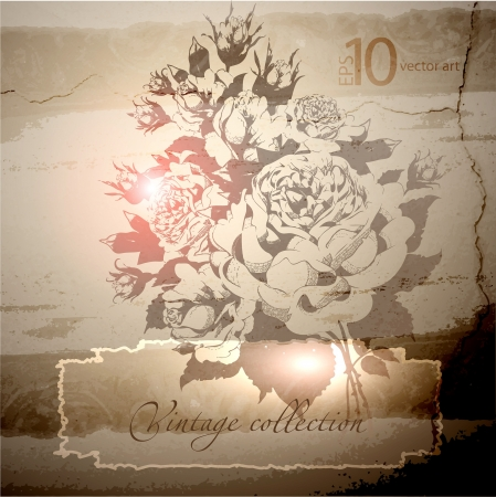 patina: abstract vector vintage background with a flower ornament