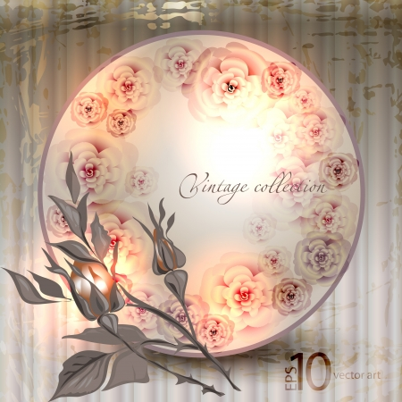 vector vintage a retro a vignette with roses Stock Vector - 14702854
