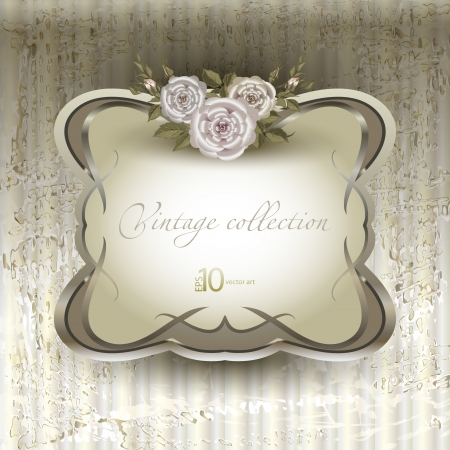 vector vintage a retro a vignette with roses Illustration