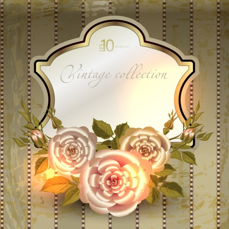 vector vintage a retro a vignette with roses Vector