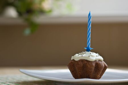 Birthday muffin with blue candle photo
