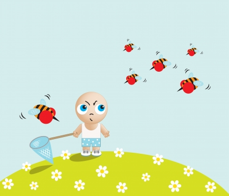Boy against bees Vector
