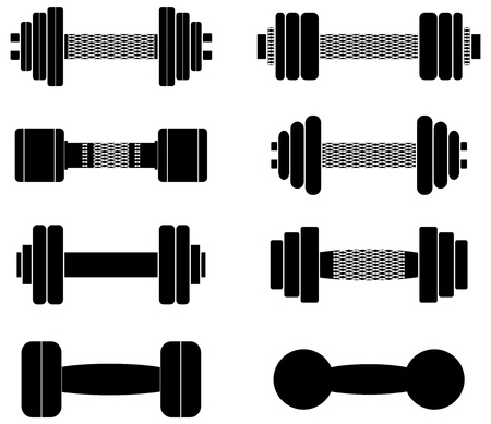 A set of dumbbells, nets on handles easily removed Vector