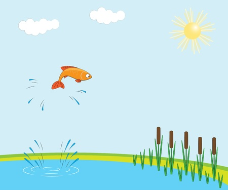 goldfish jump: Fish jumping Illustration