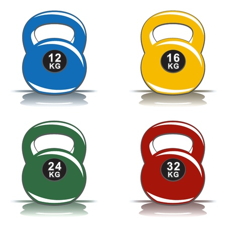Colored kettlebells Vector