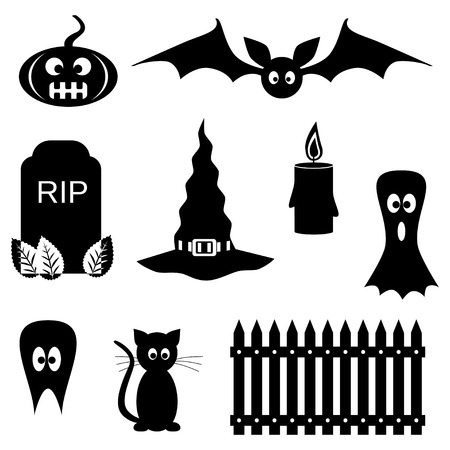 Black and white Halloween symbols Vector