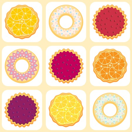 Seamless pattern with fruit pies Vector
