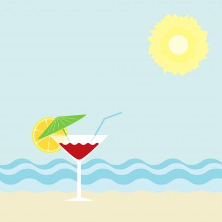 Cocktail on a beach Vector
