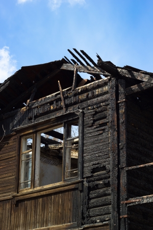 fire damage: Burnt house, vertical