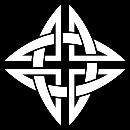 Celtic Quaternary knot isolated on black background Ilustração