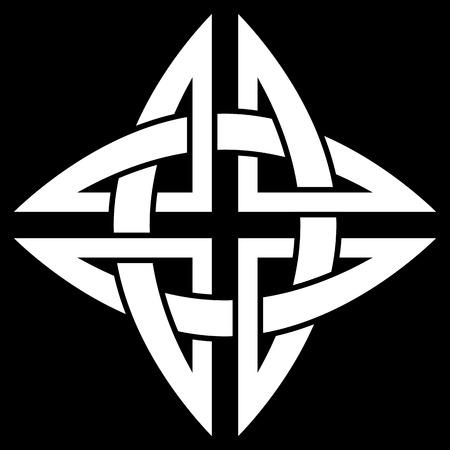 Celtic Quaternary knot isolated on black background Illustration