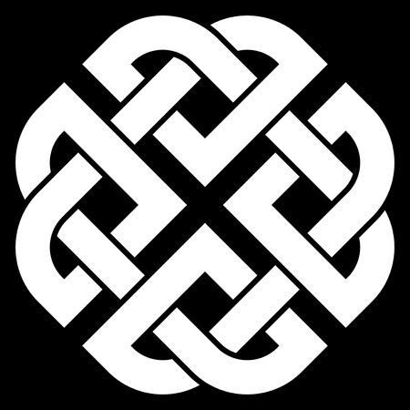 symmetric: Celtic Quaternary knot isolated on black background Illustration