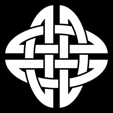 Celtic Quaternary knot isolated on black background Vector