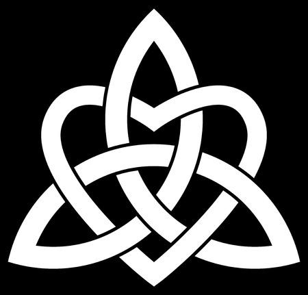Triquetra nodo celtico della Trinità intrecciato con un cuore