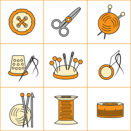 Collection of needlework, knitting, sewing icons (vector illustration) Vector