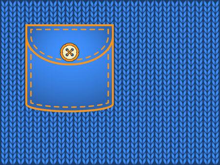 knitted background: Fondo hecho punto y bolsillo con espacio para el texto