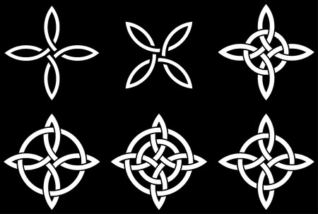 Celtic four-cornered (Quarternary) knot variations. Quarternary knot is a traditional Celtic knot representing four fold concepts.