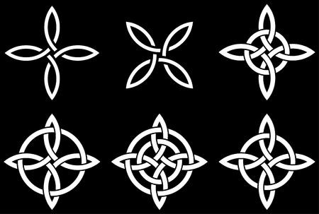 Celtic four-cornered (Quarternary) knot variations. Quarternary knot is a traditional Celtic knot representing four fold concepts.