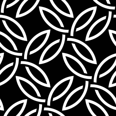 four pattern: Black and white floral seamless pattern based on Celtic Quarternary knot. Illustration