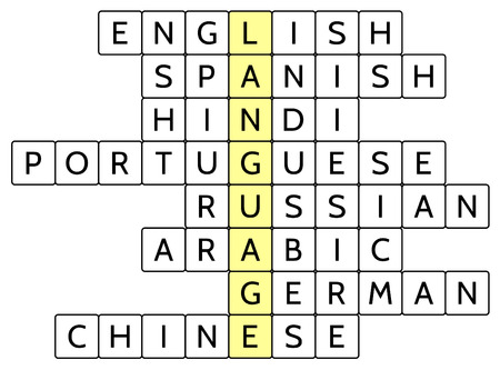 widely: Crossword puzzle for the word Language and 8 of the most widely spoken languages of the world (English, Spanish, Hindi, Portuguese, Russian, Arabic, German, Chinese), vector illustration