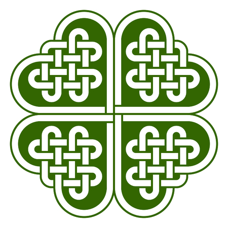 symmetrical design: Four-leaf clover shaped knot made of Celtic heart shape knots, vector illustration Illustration
