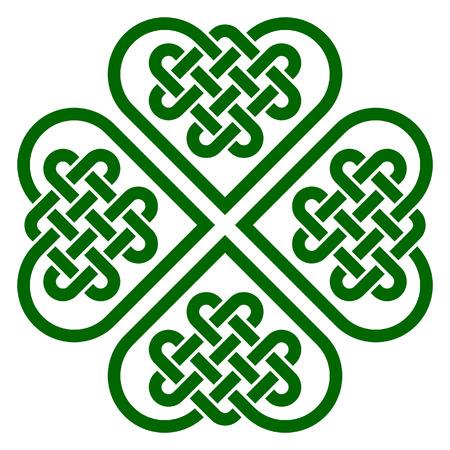 nudo: En forma de trébol de cuatro hojas nudo hecha de nudos celtas de forma de corazón, ilustración vectorial