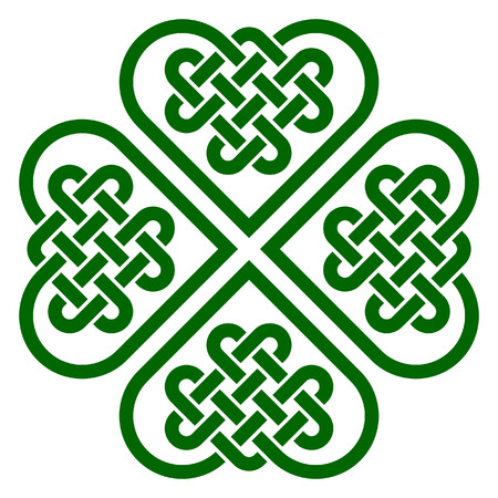 Four-leaf clover shaped knot made of Celtic heart shape knots, vector illustration Vettoriali