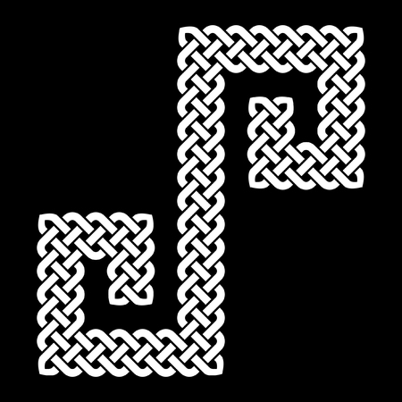 s curve: Celtic knot laid in an S shape curve, vector illustration pointed corners, white on black background, isolated