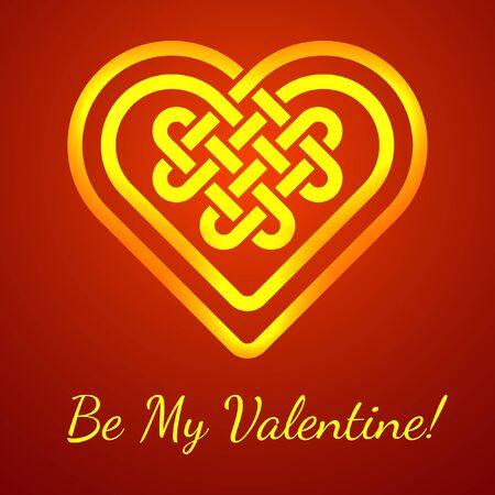 celtic background: Be My Valentine card with a Celtic heart shape knot, vector illustration glowing heart shape on deep red background Illustration