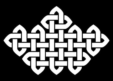 canutus: Asiático (chino, coreano o japonés) o un nudo de estilo celta. Ilustración monocromática. nudo blanco sobre fondo negro, aislado. Vectores