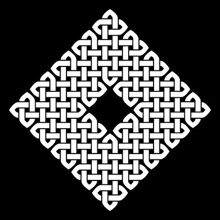 monochromatic: Asian (Chinese, Korean or Japanese) or Celtic style knot. Monochromatic illustration. White knot on black background, isolated.