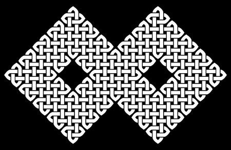 nudo: Asiático (chino, coreano o japonés) o un nudo de estilo celta. Ilustración monocromática. nudo blanco sobre fondo negro, aislado. Vectores