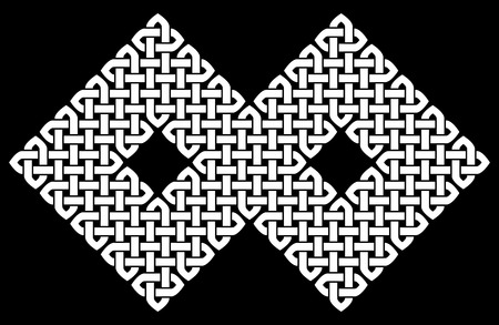 chinese knot: Asian (Chinese, Korean or Japanese) or Celtic style knot. Monochromatic illustration. White knot on black background, isolated.